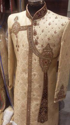 Zardosi Embroidery, Achkan, Wedding Sherwani, Cartoon Wallpaper, Indian Bridal, Men's Fashion, Victorian, Elegant, Dresses