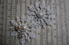 Snowflakes decorated with vintage earrings!