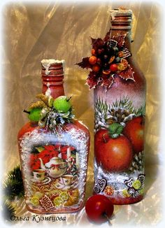 """Photo from album """"Ручная работа on Yandex. Recycled Wine Bottles, Painted Wine Bottles, Lighted Wine Bottles, Glass Bottle Crafts, Wine Bottle Art, Christmas Decoupage, Decoupage Glass, Christmas Wine Bottles, Altered Bottles"""