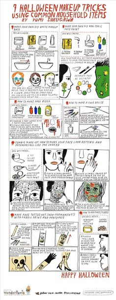 Great inspiration for an infographic - 7 Halloween Makeup Tricks Using Common Household Items. Fantastic for cosplay!