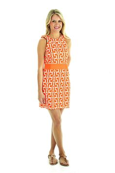 Steffi Shift Dress in Orange and White by Tracy Negoshian