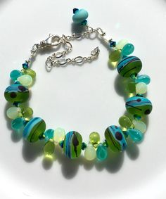 Swarovski Crystal and Lampwork Beaded Bracelet  summer beach holiday by Alliaks on Etsy