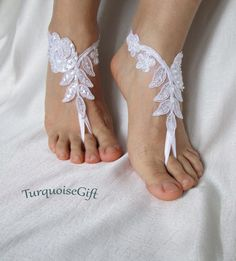 White Beach wedding barefoot sandalsAvailable 6 by TurquoiseGift