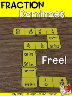 These free equivalent fraction dominoes are a great way to help your students master equivalent fractions!  Could be used in small groups, math centers, at home, and more! Fraction Activities, Teacher Resources, Math Games, Classroom Resources, Math Activities, Equivalent Fractions, Math Fractions, Dividing Fractions, Maths