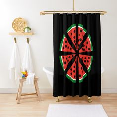 """Watermelon Slices"" Shower Curtain by Pultzar 