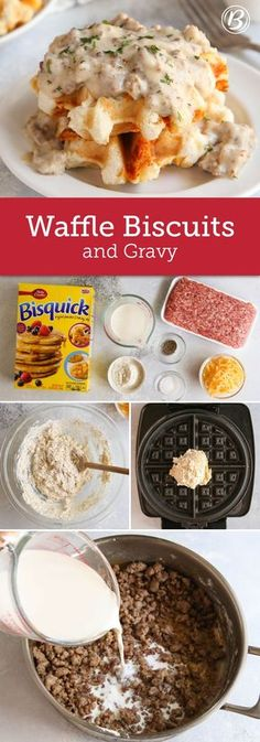 Waffle Biscuits and Gravy - Waffle Maker - Ideas of Waffle Maker - Change up your weekend breakfast routine with this twist on classic biscuits and gravy. The biscuits are made in a waffle maker and then topped with a creamy sausage gravy. Waffle Biscuits, Breakfast Casserole With Biscuits, Biscuits And Gravy, Breakfast Dishes, Best Breakfast, Breakfast Ideas, Breakfast Recipes, Sausage Casserole, Mexican Breakfast