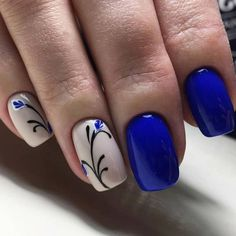 Inspirational Blue Nail Art Designs and Ideas Spring 2018 (pretty spring nail colors) Spring Nail Art, Nail Designs Spring, Spring Nails, Nail Art Designs, Spring Art, Cute Nail Art, Beautiful Nail Art, Royal Blue Nails Designs, Nails Polish