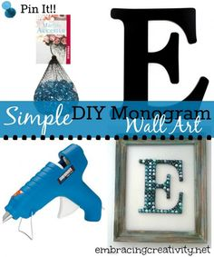 DIY Monogram Wall Art! - I MUST do this for my daughter's room!