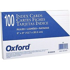 """Oxford® 5"""" x 8"""" Ruled White Index Cards, 100/Pack"""