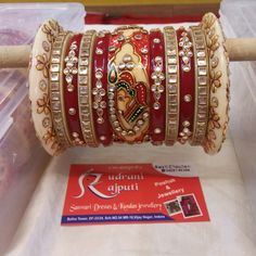 Beautiful Bridal Chura... Bridal Bangles, Bridal Jewelry Sets, Wedding Jewelry, Wedding Wear, Gold Bangles Design, Jewelry Design, Designer Bangles, Chuda Bangles, Bridal Chuda
