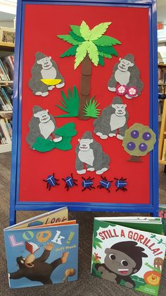 During the month of November we are featuring storytime themes that start with the letter G. Our first week is a week of gorillas! After che. Flannel Board Stories, Felt Board Stories, Felt Stories, Flannel Boards, Spring Activities, Preschool Activities, 19 Month Old, Zoo Crafts, Felt Kids