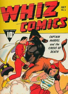 Captain Marvel vs. what appears to be a gorilla/lion centaur-type thing