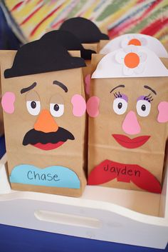 Toy Story, Mr. and Mrs. Potato Head treat bags (or craft activity).