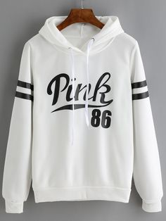 White Drawstring Hooded Letters Print Sweatshirt  -SheIn