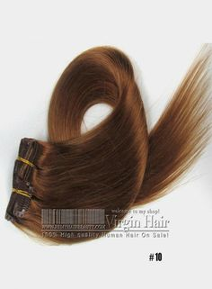 7PCS Clip In Human hair extensions Color #10 Light Chestnut Straight