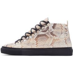 Balenciaga Beige Textured Leather Arena High-Top Sneakers ($1,260) ❤ liked on Polyvore featuring men's fashion, men's shoes, men's sneakers, mens lace up shoes, mens high top sneakers, mens python shoes, beige mens dress shoes and mens high top shoes