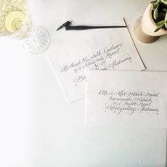 white envelopes white wine. happy happy hour!   p.s. I love modern callig but the process-obsessed-classical-ballerina in me is a copperplate girl at heart. Any other calligrafriends feel me?! p.p.s. I'm mourning the loss of Katch. Victoria what will I listen to when I can't catch up on past 'scopes? You're the best calligraphy mentor from afar!  @designhouseofmoira by ashlynscarter