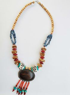Vintage Multi Color Tribal Necklace With Multi Shaped Beads And Antique Brass Pendent