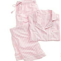 VICTORIA'S SECRET PAJAMA SET long sleeve button down pajama shirt with a little pocket, long leg pajama pants, lightweight, light pink and white strips, i will iron this before shipping so itll look perfect :) get this VS set now! Victoria's Secret Intimates & Sleepwear Pajamas