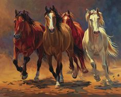 Bring the rustic wild into your home with this vivid and colorful Nancy Davidson piece, 'Hoofbeats and Heartbeats'. The canvas artwork features four colorful horses, stampeding through a golden plane. Horse Artwork, Canvas Artwork, Horse Drawings, Art Drawings, Painting Prints, Art Prints, Painting Canvas, Cowboy Art, Equine Art
