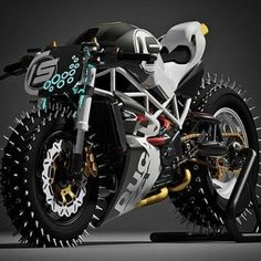 """"""" red-faced-wolf: """" rhubarbes: """" Paolo Tesio Texdesign More bikes here. """" """" Is this like some deranged Ducati built for ice racing or for the end of civilization? Motorcycle Design, Motorcycle Style, Bike Design, Concept Motorcycles, Cool Motorcycles, Super Bikes, Futuristic Motorcycle, Roadster, Moto Bike"""