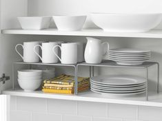 Use mesh shelves inside cabinets for extra storage.