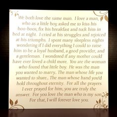 This 10x10 MDF or Cherry Wood Plaque is perfect for a Mother of the Groom to give to her new Daughter-in-Law to welcome her into the family. This plaque comes in 2 colors: (shown in white).