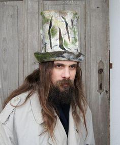 Unique felted high-hat cylinder top-hat  woodland hat by filcAlki