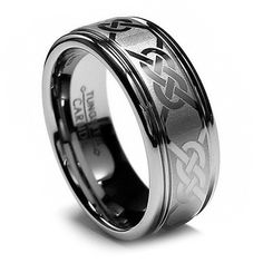 Shop for Men's Tungsten Carbide Laser-etched Celtic Grooved Band mm). Get free delivery On EVERYTHING* Overstock - Your Online Jewelry Shop! Celtic Wedding Bands, Tungsten Wedding Bands, Wedding Band Sets, Wedding Rings, Matching Wedding Bands, Celtic Rings, Celtic Knot, La Mode Masculine, Men Stuff