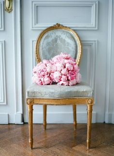 Pink peonies on a French chair. Dessert Color Palette, chic interiors, feminine interior inspiration, pink color palette, chic French