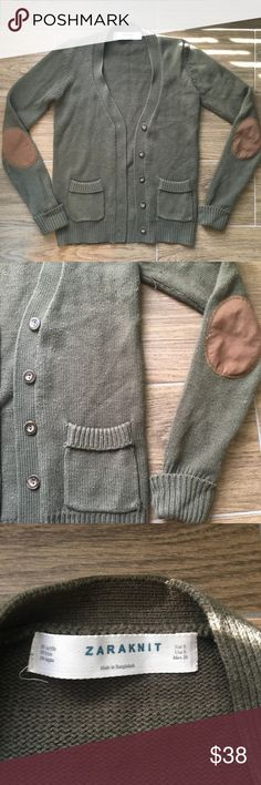 Zara knit cardigan olive sweater Olive colored Zara Knit cardigan with elbow patches. Gently worn size small Zara Sweaters Cardigans