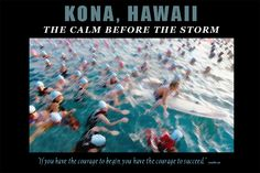 CALM:  Ironman World Championship swim start. Kona, Hawaii. 20x30 poster by Randy Wrighthouse