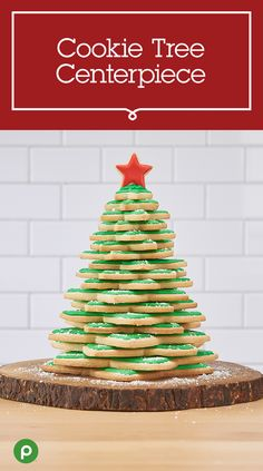 Here's a new take on decorating a Christmas tree—a Christmas tree made out of cookies. To make this Publix recipe, cut star-shaped cookies in various sizes using your favorite cookie dough. Bake and let cookies cool before applying green frosting. Apply red frosting to one small cookie. Stack the cookies from largest to smallest with alternating pointed edges. Dust with powdered sugar and add the red star cookie on top with frosting. Now the question is: Will they make it till Christmas Day?