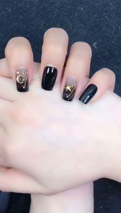 Simple nails art design video Tutorials Compilation Part 210 - The most beautiful nail designs Nail Designs Easy Diy, Nail Art Designs Videos, Short Nail Designs, Diy Nails, Cute Nails, Pretty Nails, Gold Nail Art, Gold Nails, Bling Nails