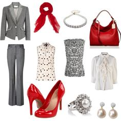 grey and red suiting options, created by divineleonine.polyvore.com