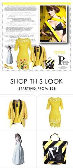 """yellow"" by smile2528 ❤ liked on Polyvore featuring Lladró, Miu Miu and Anne Klein"