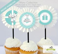 {Free Printable} Tiffany & Co. Inspired Happy Birthday Cupcake Toppers, Tags, or Embellishment ~ Kroma Design Studio Parties & Events