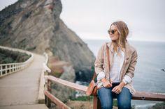 Gal Meets Glam Misty Views - Old Navy jacket & shirt, tee, jeans, & flats c/o, Chloe bag & Illesteva sunglasses