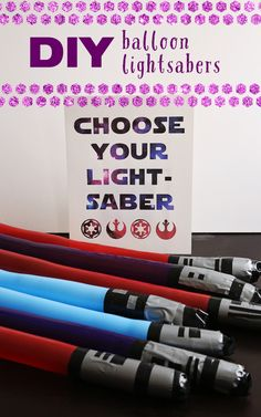 For a fun activity or giveaway during your Star Wars Digital Movie Collection Viewing Party, use skinny balloons and duct tape to make DIY lightsabers.
