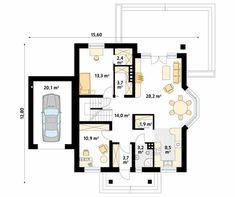Projekt domu Wilga 4 - rzut parteru Billionaire, Sliders, Floor Plans, How To Plan, Projects, Floor Plan Drawing, Romper