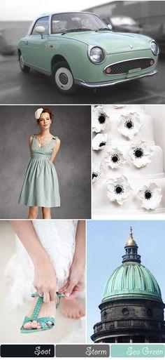 Sea Green, Grey, Black wedding colour scheme