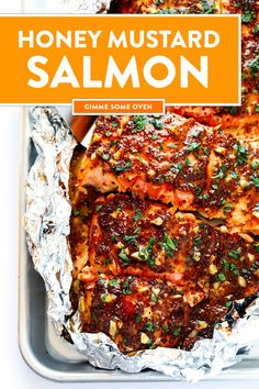 LOVE this 30-Minute Honey Mustard Salmon recipe! It's made with the best garlic honey mustard sauce, it's easy to make baked in the oven or grilled, it's also naturally gluten-free. A great healthy dinner idea! | gimmesomeoven.com #salmon #baked #grilled #honeymustard #glutenfree #dinner #healthy