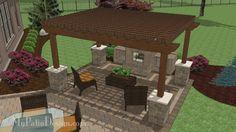 Beautiful 12 x 16 Cedar Pergola with Stone Columns   Download Installation Plan at MyPatioDesign.com