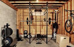 Home gym rogue fitness squat dumb bells garage