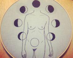 Lunar Cycle Embroidery Hoop Art