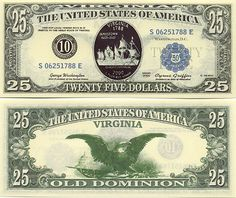 Virginia (USA) Statehood Commemorative Notes (private issue) 25 Dollars 2000 (Old Dominion)
