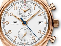 A reinterpretation of a classic timepiece: The IWC-manufactured 89361 calibre displays stopped times up to 12 hours in a subdial where they can be read off as simply as the time of day. The arched-edge front glass and the railway-track-style chapter ring give the design a classic balance. Available in 18-carat red gold or stainless steel with an alligator leather Santoni strap.