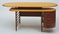 """Desk, Frank Lloyd Wright. 1936-39. Wood and painted metal, 33 3/4 x 84 x 32"""" (85.7 x 213.4 x 81.3 cm). Manufactured by Metal Office Furniture Co. (presently Steelcase, Inc.), New York, NY. Purchase. Lily Auchincloss Fund. © 2012 Frank Lloyd Wright Foundation / Artists Rights Society (ARS), New York"""
