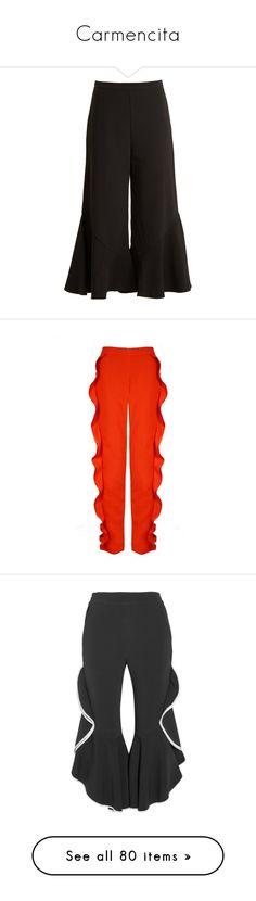 """Carmencita"" by sollis ❤ liked on Polyvore featuring pants, capris, evening pants, peter pilotto pants, suede pants, loose fitting pants, loose fit pants, bottoms, orange and orange pants"
