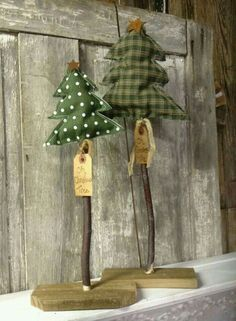 Prim Fabric Trees With Stick Trunks